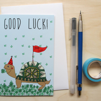 Greetings card 'Good luck tortoise' A6 Digitally printed.