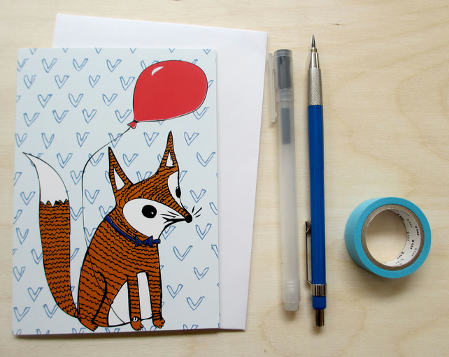 Greetings card 'Foxes party' A6 Digitally printed