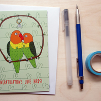 Greetings card 'Congratulations love birds' A6 Digitally printed
