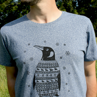Organic Percy the Penguin melange blue Mens T-shirt SALE