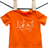 Foxes camping 'Lets go on an adventure' organic Kids T-shirt