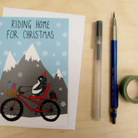 Riding home for Christmas penguin card