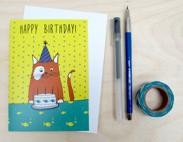 Birthday cat greetings card