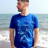 Under the sea Bamboo Mens T-shirt hand screen printed with eco-friendly inks.