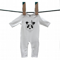 Organic Panda long sleeved baby grow