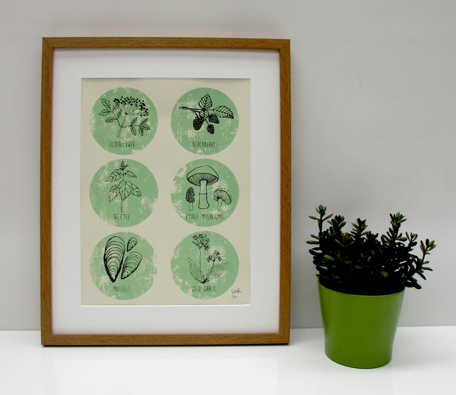 Art print 'The Forager' Hand screen print.