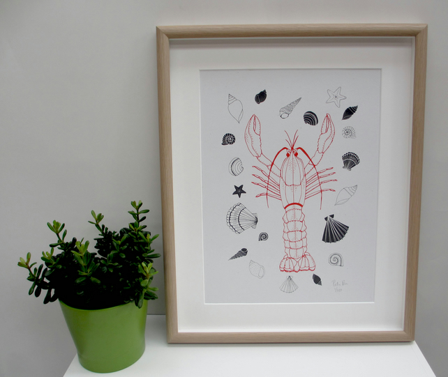 Art Print 'Larry the Lobster' screen print.