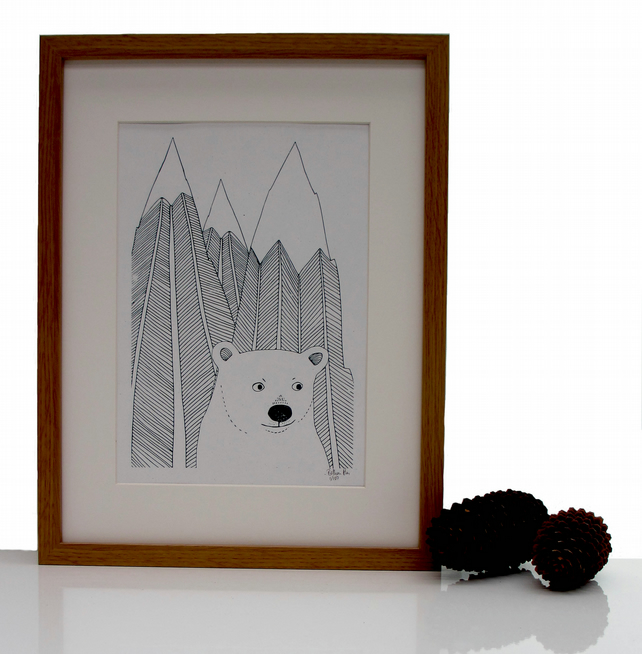 Art print 'Polar bear with mountains' Screen print SALE NOW HALF PRICE
