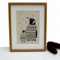 Art Print 'Penguin Family' screen print-SALE