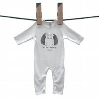Organic 'Give me a hedgehug' long sleeved baby grow