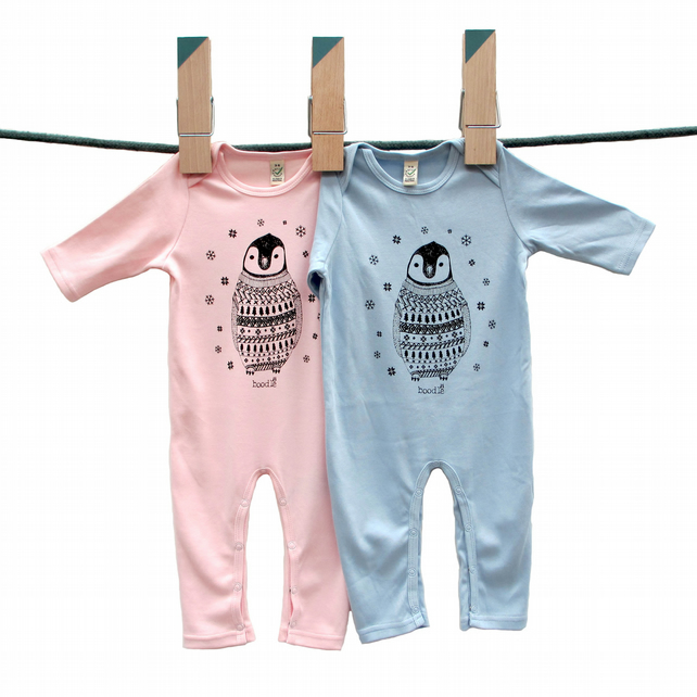Baby penguin long sleeved baby grow-SALE