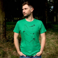 Mens green recycled garden birds T-shirt featuring 6 species of bird (tits)