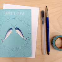 Narwhal Christmas Card