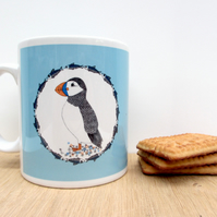 Puffin and herring ceramic mug