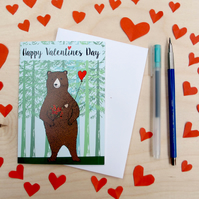 Romantic bear valentines day card
