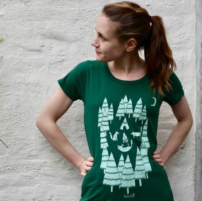 100% organic womens Foxes in the Forest tee