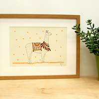 Llama love A4 screen print