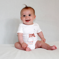 L is for Llama organic baby grow