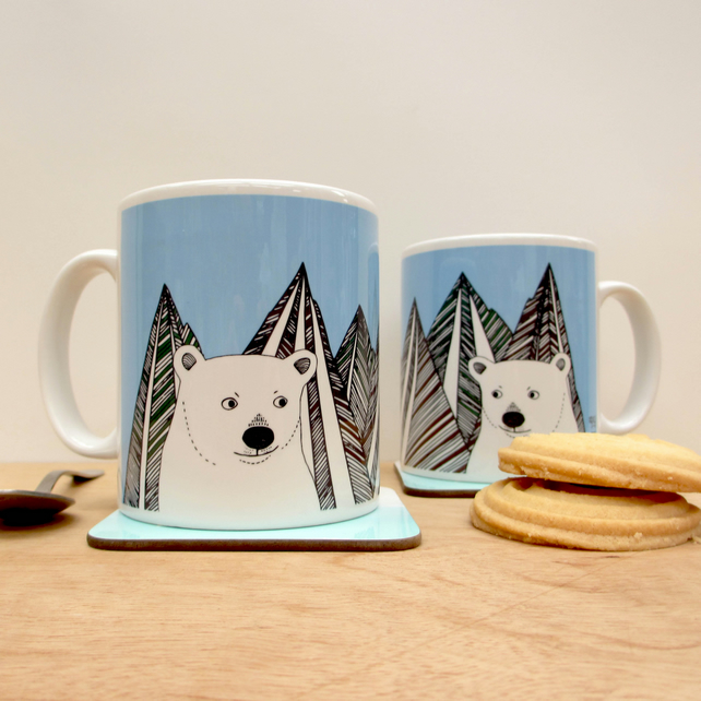 Polar bear ceramic mug.
