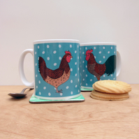 Chicken and Cockerel mug
