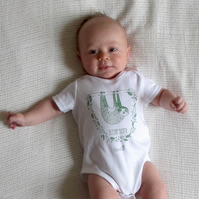 100% Organic Sleepy sloth baby grow, hand screen printed with eco-friendly inks.