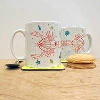 Lobster on the beach ceramic mug