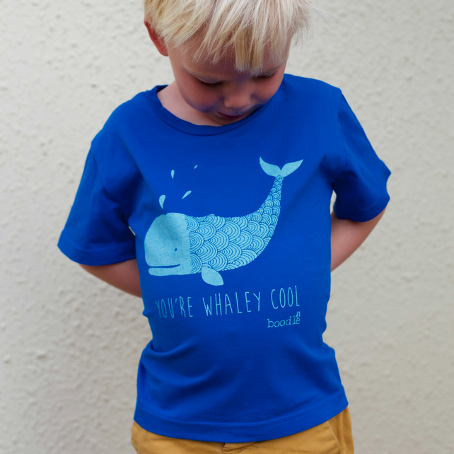 Whale 'You're whaley cool' blue kids T-shirt