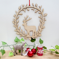 Deer Christmas wreath-Large