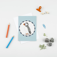 Puffin and herring greetings card