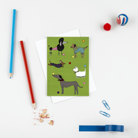 Dogs in the park greetings card