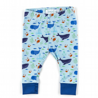 Whale nautical baby leggings