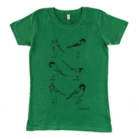 Garden birds Womens T-shirt made from recycled cotton