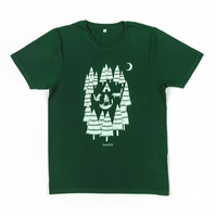 100% Organic Mens T-shirt featuring 'Foxes in the Forest'