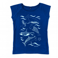 Under the Sea Bamboo Womens T-shirt, hand screen printed with eco-friendly inks.