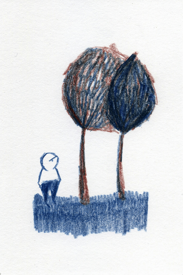 Man and Tree Original Pencil Drawing