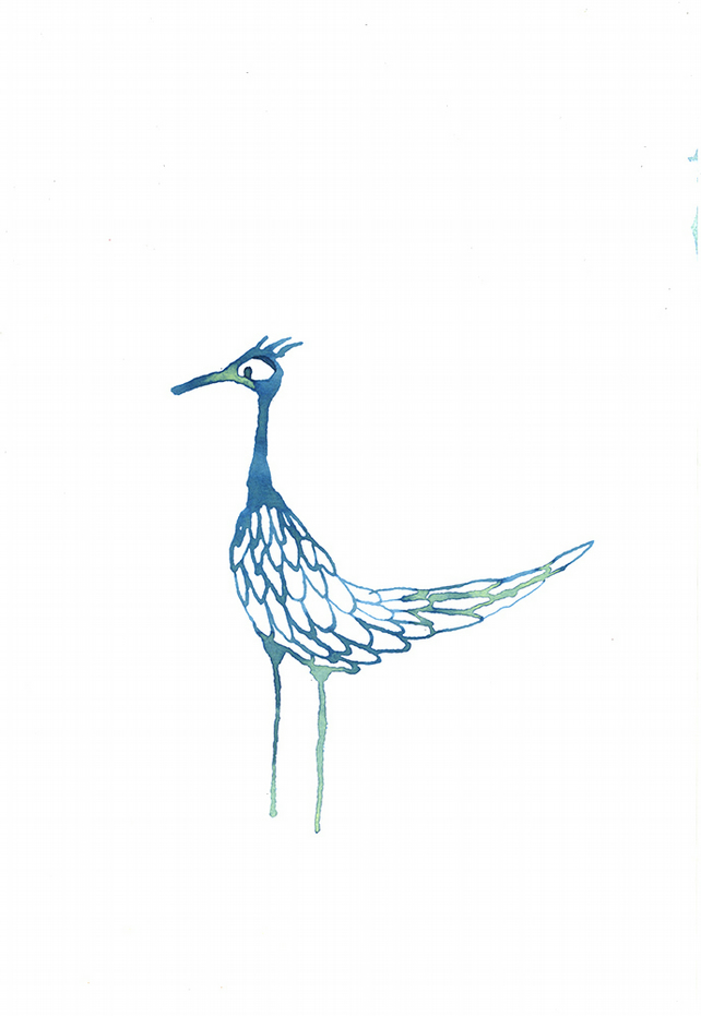 Blue Bird - Original ink drawing