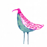 Pink and Blue Bird - Original ink drawing