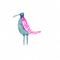 Blue and Pink Bird - Original ink drawing