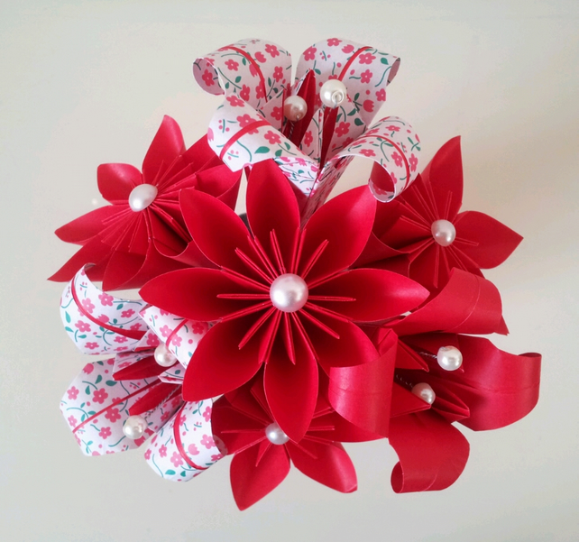 Paper Flower Valentines Day Red Lily Daisy Pos Folksy