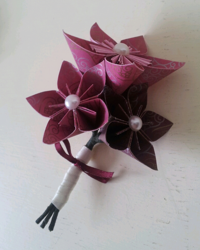 Wedding Flowers And Corsages : Paper flower buttonhole corsage wedding accesso folksy