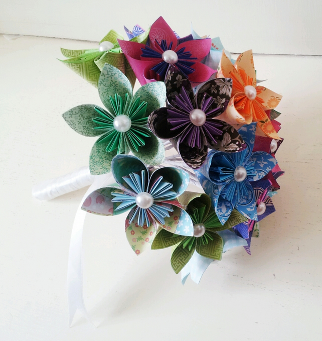 Origami and Spiral Bouquet - Paper Bridal Bouquet - Paper Wedding ... | 680x642