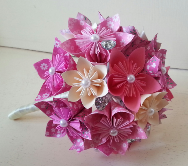 Origami Paper Flower Wedding Bouquet Hot Pink F Folksy