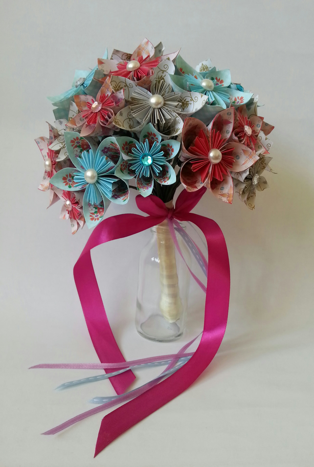 paper flower origami bridal wedding bouquet dai folksy