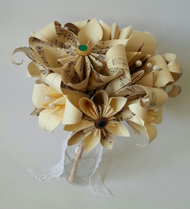 Origami Wedding Flowers: Origami Paper Flower Wedding Bouquet Bride Vint...