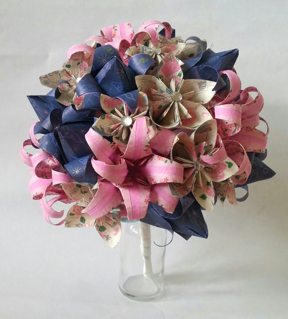 Origami Wedding Flowers: Origami Paper Flower Wedding Bouquet Alternativ...
