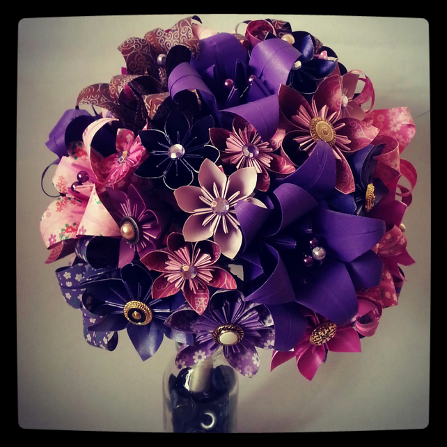 Origami Paper Flower Bouquet Wedding Alternativ...