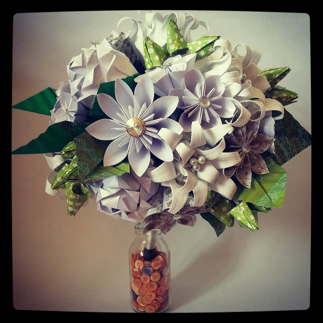 Origami Wedding Flowers: Origami Paper Flower Wedding Alternative Bouque...