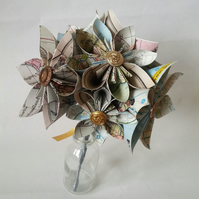 Paper Flower Origami Flower Wedding Bouquet In Daisy Nautical Map Travel Theme