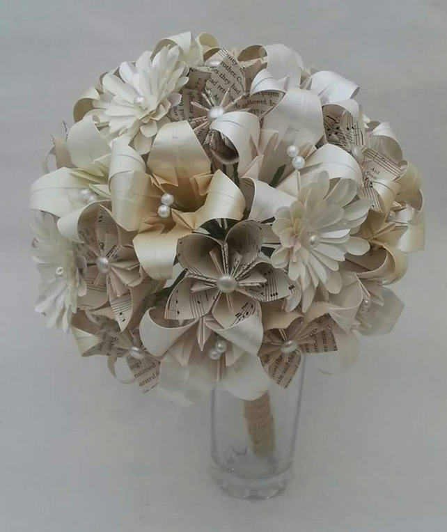 Paper Flower Origami Wedding Bouquet In White & Cream With Pearls