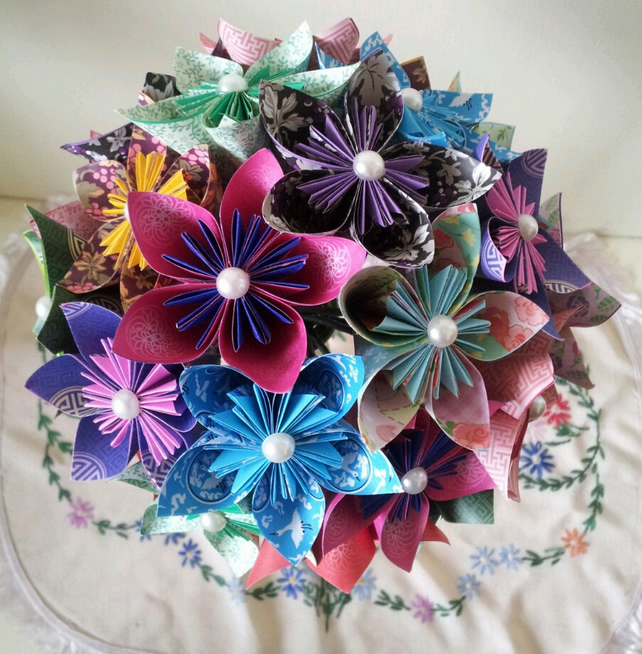 Paper Flower Origami Posy Bouquet First Wedding Anniversary Gift